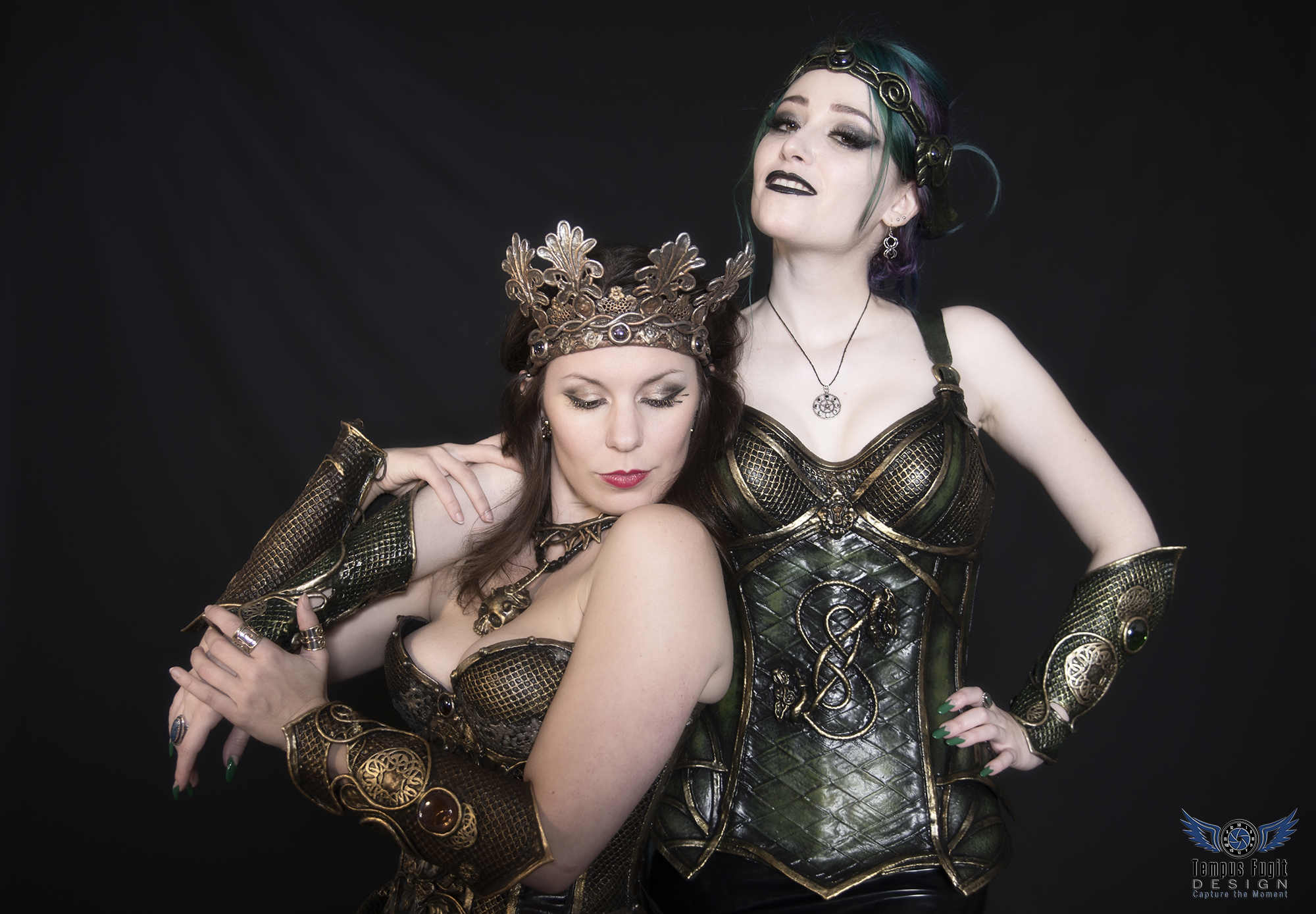 Lady Loki and Skull cameo corsets
