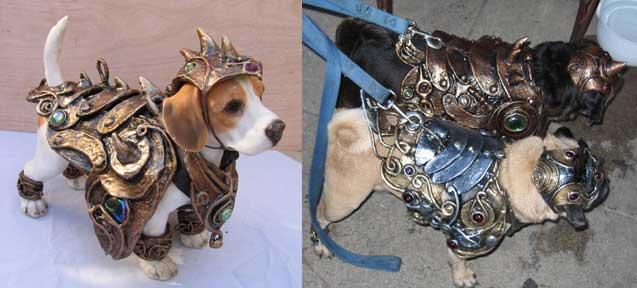Pair of pugs in armor