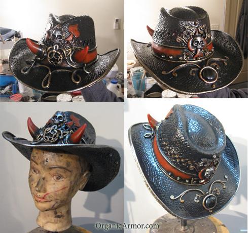 Horned poker cowboy hat