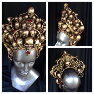 montage of golden skull crown