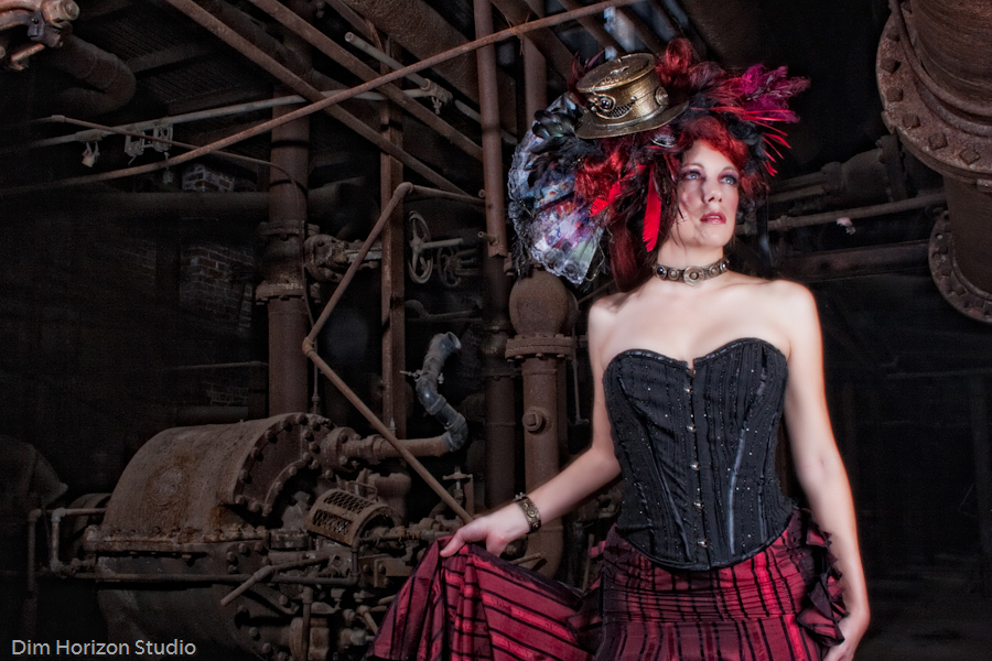 Our mini top hat and choker are part of this gorgeous costume,  shot by Dim Horizon Studios at Sloss Furnace