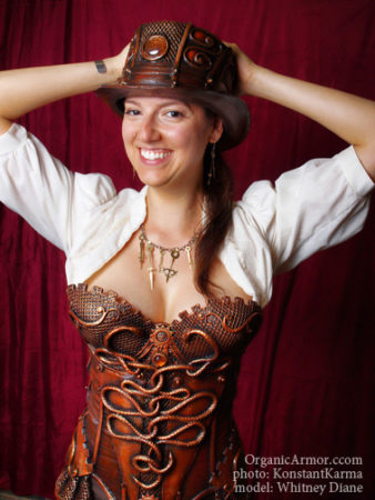 steampunk corset medusa top hat organic armor