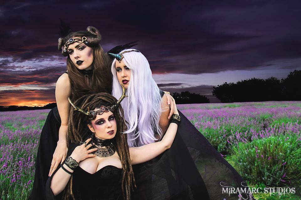 trio of horned goddesses