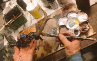 horned headdress painting